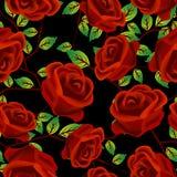 Rosas sobre o teste padrão preto Foto de Stock