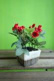 Rosas vermelhas artificiais na tabela de madeira com fundo verde Fotografia de Stock Royalty Free