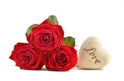 Rosas vermelhas do conceito do dia de Valentim Fotos de Stock Royalty Free