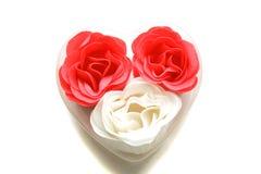 Rosas vermelhas e brancas do sabão Foto de Stock Royalty Free