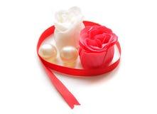 Rosas vermelhas e brancas do sabão Imagem de Stock Royalty Free