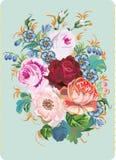 Rosas vermelhas e flores azuis Fotografia de Stock
