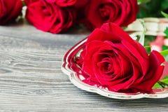Rosas vermelhas frescas Foto de Stock Royalty Free