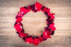 Rosas vermelhas no fundo de madeira Imagens de Stock Royalty Free