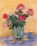Rosas em uma tabela Imagens de Stock Royalty Free