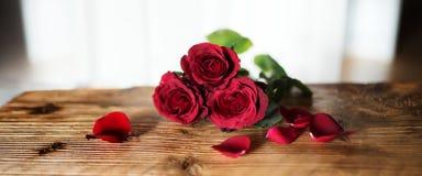 Rosas vermelhas simbólicas para o dia de Valentim Fotografia de Stock