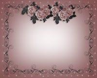 Rosas Wedding la invitación Foto de archivo