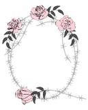 Rosas y alambre de púas ilustración del vector