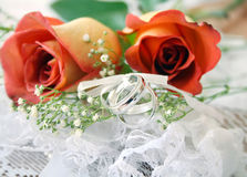 Rosas y anillos Fotografía de archivo