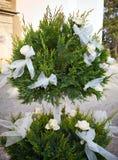 Rosas y arqueamientos blancos para una boda Imagenes de archivo