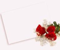 Rosas y carta Foto de archivo