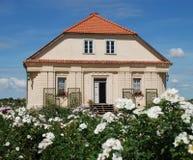 Rosas y casa hermosas del `s del jardinero en fondo Fotografía de archivo