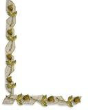 Rosas y cintas del oro de la frontera de la boda Fotografía de archivo