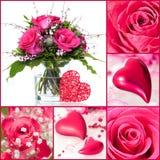 Rosas y collage de los corazones Fotografía de archivo libre de regalías