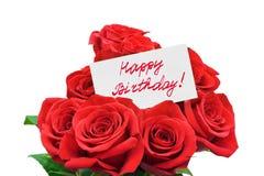 Rosas y cumpleaños de la tarjeta feliz Fotos de archivo