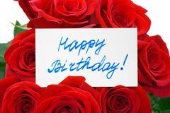 Rosas y cumpleaños de la tarjeta feliz Imagen de archivo libre de regalías