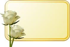 Rosas y etiqueta de marfil del mensaje Imagenes de archivo