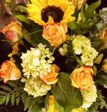 Rosas y girasoles imagen de archivo libre de regalías