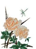 Rosas y libélula cremosas Imágenes de archivo libres de regalías