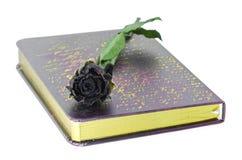 Rosas y libro muertos. imagen de archivo
