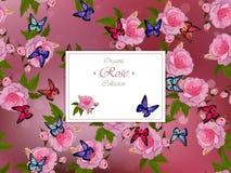 Rosas y mariposas stock de ilustración