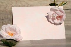 Rosas y papel Fotos de archivo libres de regalías