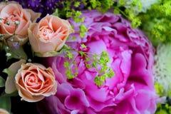 Rosas y peonía rosadas Imagenes de archivo
