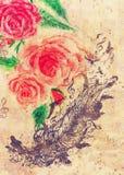 Rosas y pluma con los pájaros libre illustration