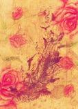 Rosas y pluma con los pájaros stock de ilustración