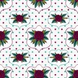 Rosas y polca Dot Seamless Pattern del vintage Foto de archivo libre de regalías