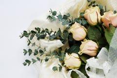 Rosas y ramas del eucalipto en un fondo blanco día del ` s de la madre, casandose imagen de archivo