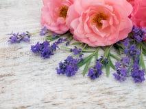 Rosas y ramo abiertos rizados rosados de la lavanda de Provence en el corne fotos de archivo libres de regalías