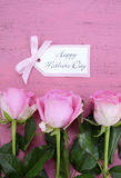 Rosas y té felices del rosa del día de madres Fotos de archivo