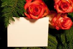 Rosas y tarjeta en árbol Foto de archivo