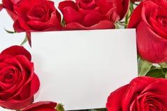 Rosas y tarjeta en blanco Foto de archivo