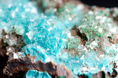Rosasite and calcite mineral sample Stock Photo