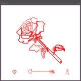 Rosblommasymbolen skapas av en fortlöpande rak linje fotografering för bildbyråer