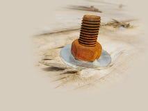 Rosca de tornillo oxidada del hierro Imágenes de archivo libres de regalías