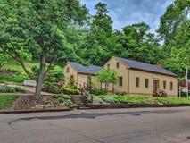 Roscoe Village Schoolhouse Coshocton Ohio historisk utställning royaltyfri fotografi