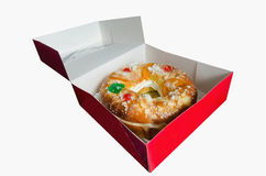 Roscon de reyes into an open box Royalty Free Stock Image