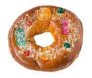 Roscon de Reyes Pastelaria tradicional do bolo-estilo Isolado imagem de stock royalty free