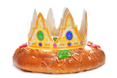 Roscon de reyes, spanish three kings cake Royalty Free Stock Images
