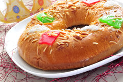 Roscon de reyes, spanish three kings cake Stock Photos
