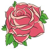 Rose. Red rose with leaves in vector Stock Photo