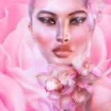 Rose abstrait, floral avec le visage de la femme Image stock