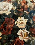 Rose acriliche stilizzate su tela strutturata Fotografie Stock