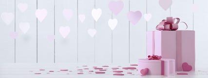 Rose actuel avec des coeurs Image stock