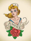 Rose of Amore. Old-school Navy tattoo of a pinup lady with a red rose. Editable vector illustration Stock Photo