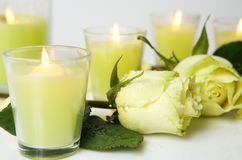 Rose And Candles Royalty Free Stock Image