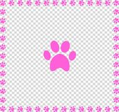Rose animal`s pawprint icon framed with paw prints square border. Framework isolated on transparent  background. Vector illustration, sign, symbol, icon, clip Royalty Free Stock Photos